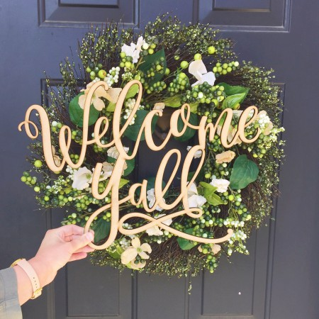 Southern Welcome Yall front door sign